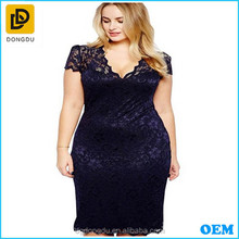 Latest new design lady V-neck lace black transparent casual dress