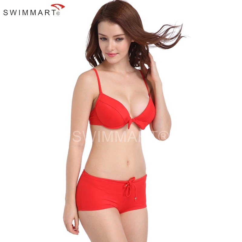 Joyous Red Underwired Bra Double Layer Padding Top Swimwear Bikini Set