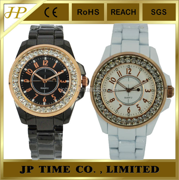 fashion stylish bright cz stone on bezel black white unique mens watches