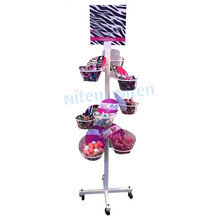 Best quality display hanging basket racks standing display stand with wheels