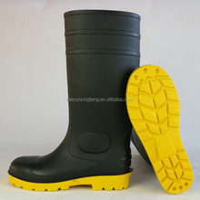 Black pvc safety wellingtons with yellow sole,black safety wellingtons for mining,black pvc safety wellingtons for industrial