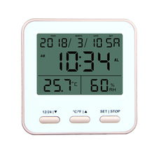 Rose gold digital LCD clock thermometer hygrometer with date For room DTH-<strong>129</strong>