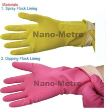 NMSAFETY gauntlet household latex gloves yellow or pink color weight 40 gram length 30cm
