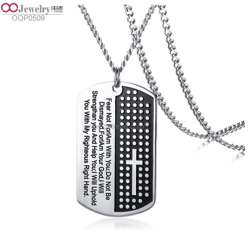 Lection and cross design ID dogtag s.steel charms