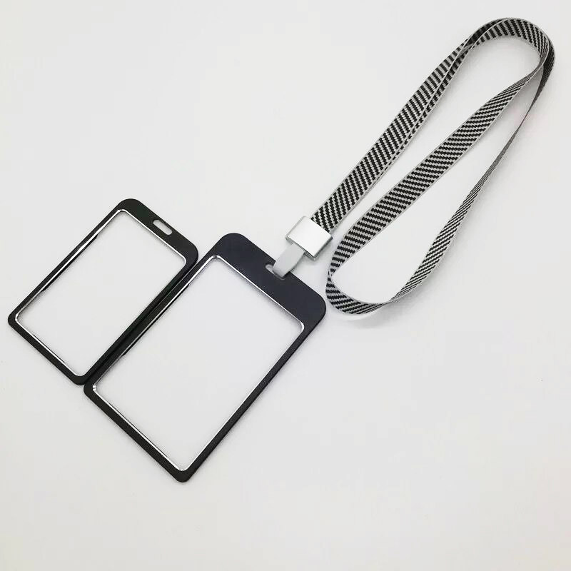 Double use multi size metal plastic ID card holder for school