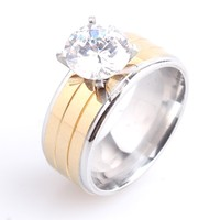 Delicate Jewelry Solitaire Cubic Zirconia Titanium Yellow Gold Plating Stainless Steel Ring