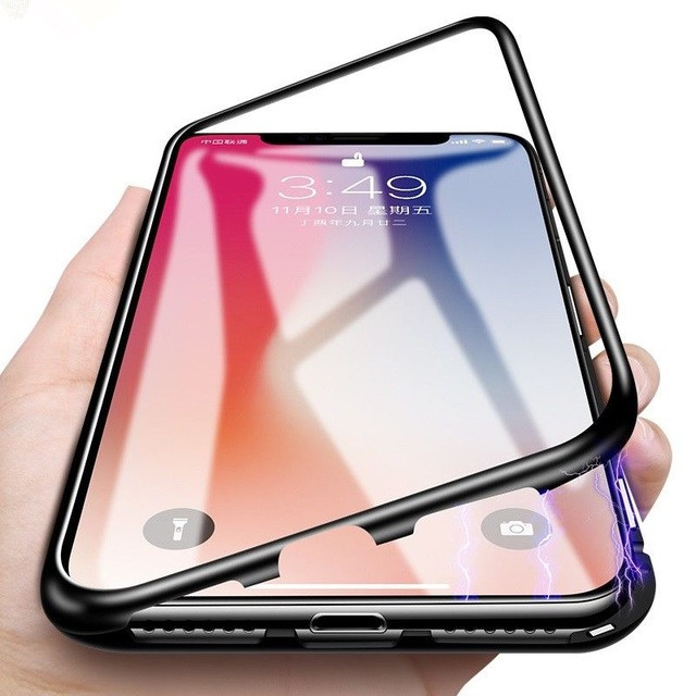 Aluminum Alloy Tempered Glass cover Metal Magnetic Adorption Phone Case For <strong>iPhone</strong> 7 8 X plus