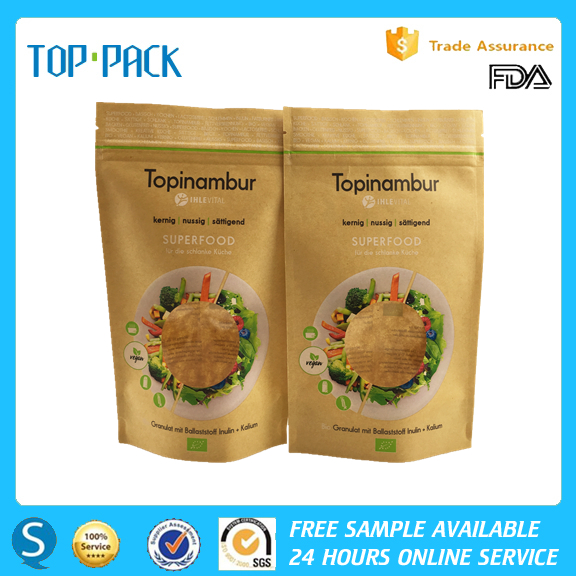 OEM aluminum foil kraft paper stand up zipper superfood packaging bags