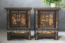 Chinese antique furniture pine wood shanxi two door black & red bedside cabinet