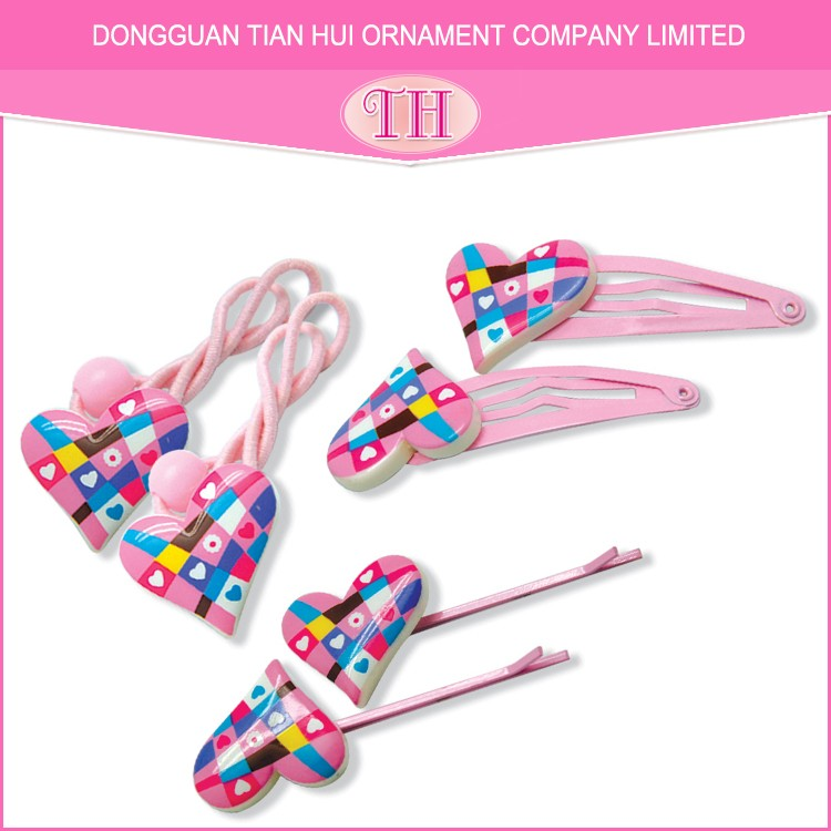 Fashion design high quality hot transfer print resin raw material hair accessories