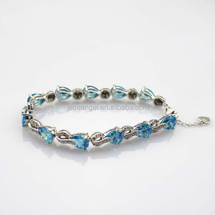 Sterling Silver Created Blue Topaz CZ Diamonds Link Bracelet