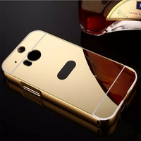 Metal Frame Chrome Plating Mirror Back Cover Case For HTC One M8