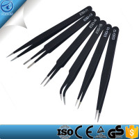 6pcs Anti-static ESD Tweezers with Non-magnetic Tips for Electronics, Jewelry-making