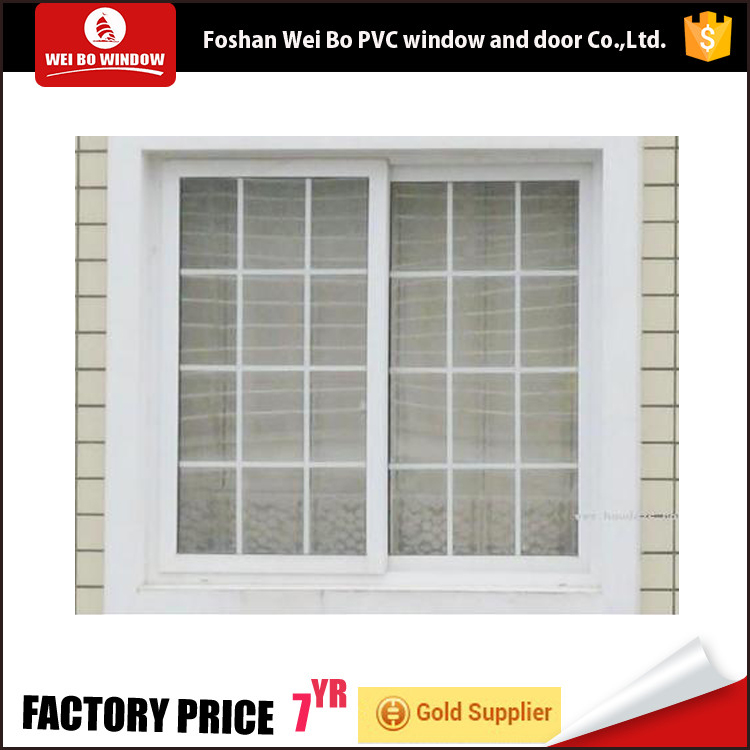 PVC profile iron grill design window upvc sliding glass winow