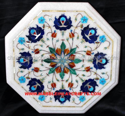 Handcrafted Marble Inlay Table Top, Dining Table With Marble Inlay