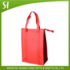 red reusable non woven shopping bag with long handle/eco blank wine tote bag with zipper