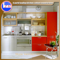Modular easy life Red lacquer with glass door kitchen