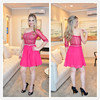 Fashion Hot Pink Chiffon Beaded Short Puffy One Shoulder Long Sleeve Prom Dresses