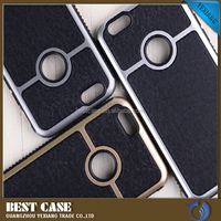 2016 Newest Electroplating TPU Frame Leather Skin PC Hard Gentleman Case For iPhone 5 5S