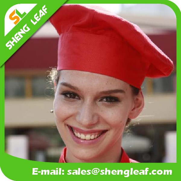 Fashional Kitchen Red Cotton Chef Hats for Women