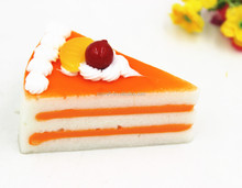 New artificial triangle birthday cake model with soft PU fruit for party display
