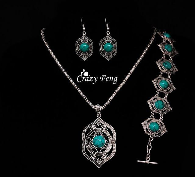 High Quality Turquoise Pendant+Bracelet+Earrings Jewelry Sets Tibetan Silver Plated Fashion Jewelry Set for Women