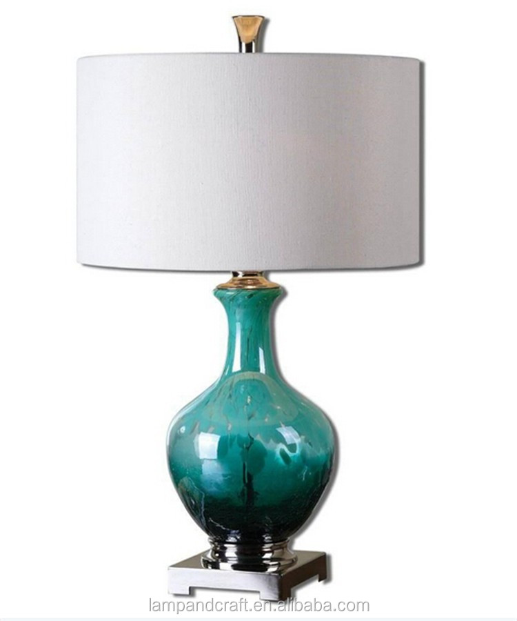 DEEP BLUE GREEN Art Glass Table Lamp Mottled Crackled Aqua Accent with white fabric lampshade for garden decoration CUL CE ROHS