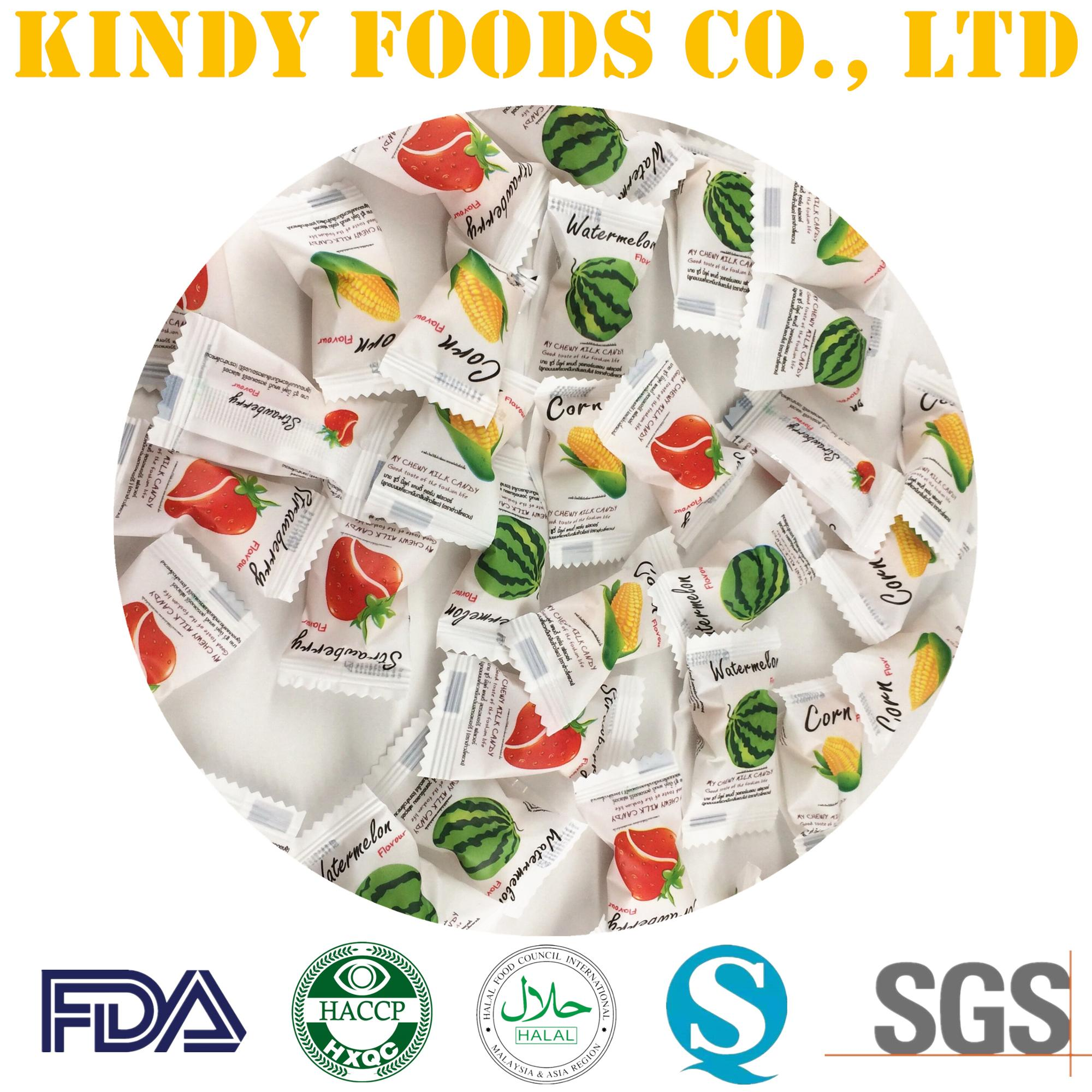 Fruity chewy milk candy customized flavors funny gummy sweets