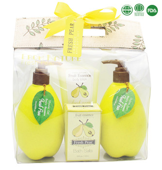 Fresh pear fruit shaped skin whitening cream shower gel bubble bath