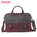 Unisex shoulder bag waxed cotton canvas material men handbags large resistant messenger bag with genuine leather
