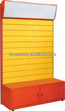 merchandising wall display/ metal slatwall display stand with cabinet and standing light box