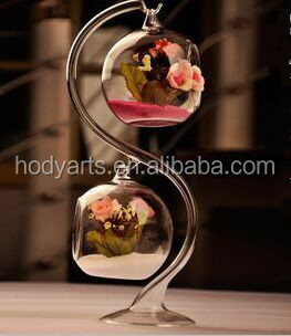 Wholesale <strong>Fashional</strong> design with Size of H30X10CM Decoration Glass Vase with Stand
