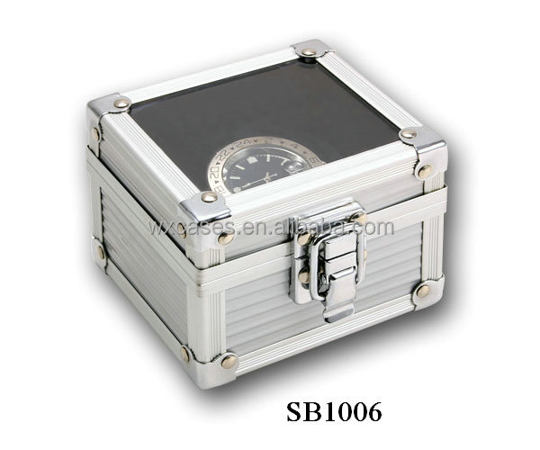 aluminum watch boxes for single watch with a glass top and a pillow inside