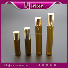 srs 3ml 5ml glass roll on bottle and silk-screen printing 10ml ALU cap metal ball glass essential oil bottle