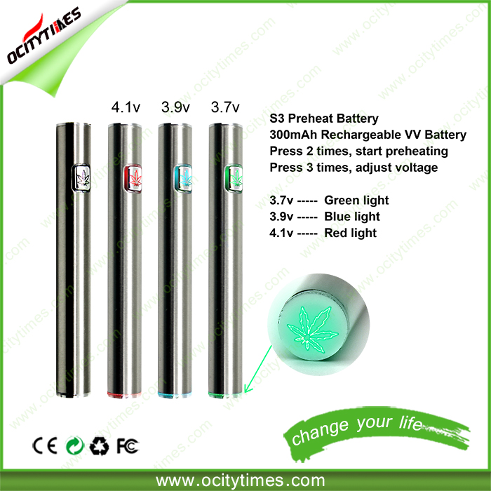 2016 Ocitytimes S3 Rechargeable Preheat battery New invention 300mah o pen vape 510 battery custom logo