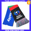 Custom wholesale crochet knit soccer football fan scarf with 10cm tassels