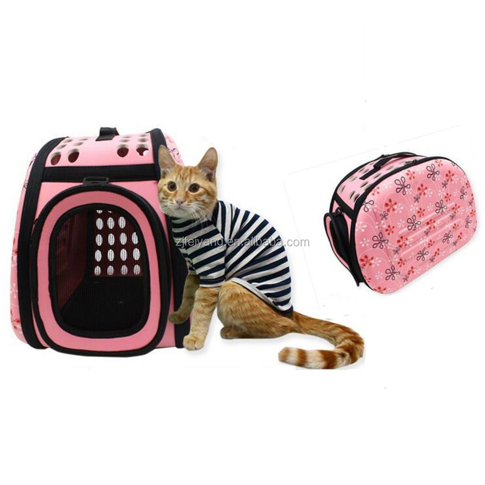 EVA factory cheap pet carrier fold eva bag, travel dog/cat cage bag