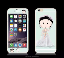 HUYSHE OEM cartoon color tempered glass screen protector for iphone 5 6 6plus front and back