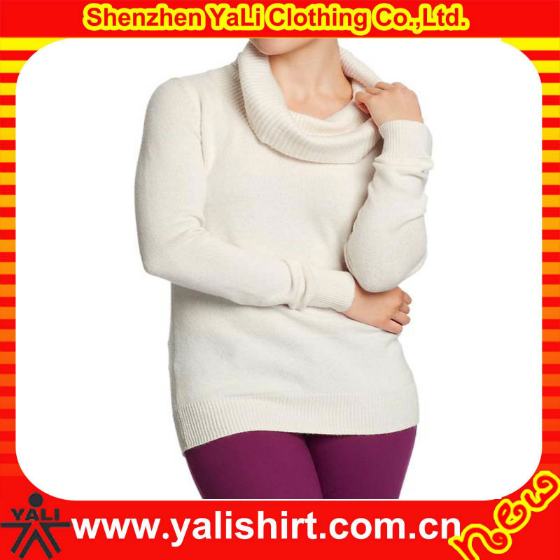2014 Custom new style white turtleneck long close-fitting slim ladies hand knitted sweater