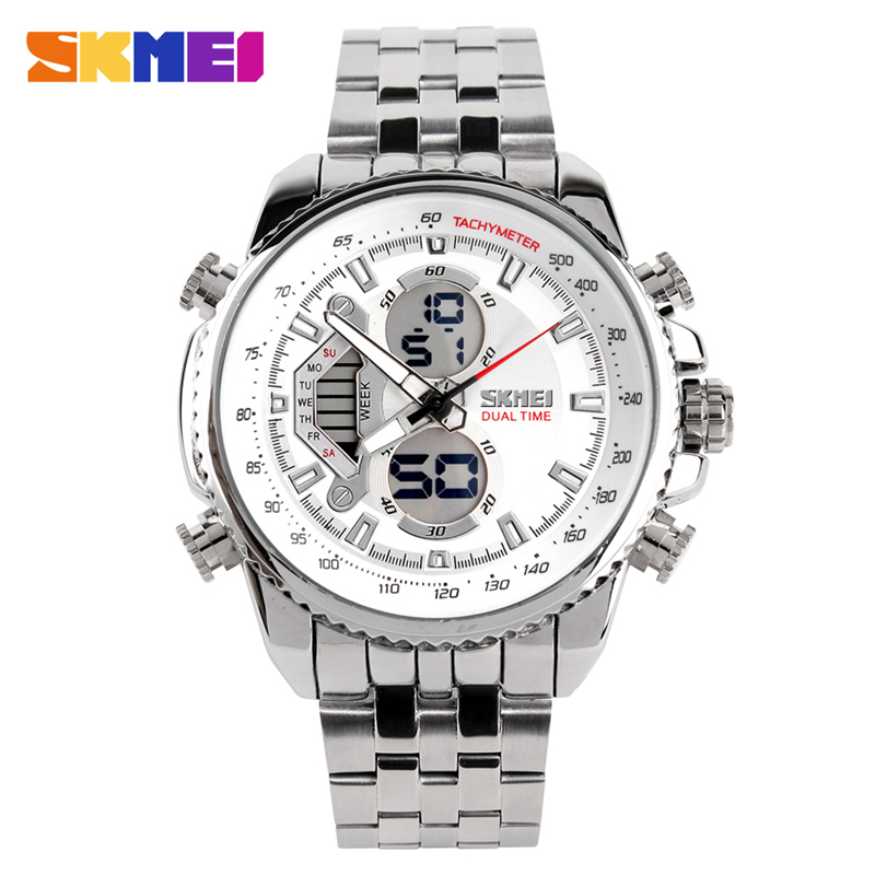Fashion design stainless steel band big case digital wrist sports 0993 skmei men watch