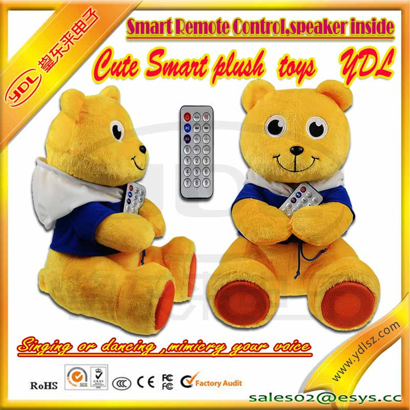 customized stuffed plush music bear with smart remote control,wear t-shirt print your own logo plush bear