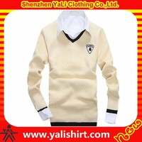 Wholesale fashion comfortable v-neck long sleeve cotton/polyester embroidery casual men cricket sweater
