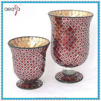 Home decor red hurricane crackle mosaic glass vase for flower