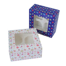 decorative printed paper cardboard cupcakes boxes with window and divider