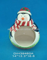 Ceramic penguin candy house