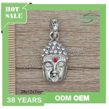 Top quality antique silver buddha pendant rhinestone buddha charms