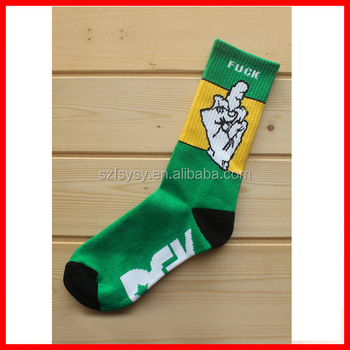 2017 New Design Funny Lettering Socks Fuck Off Finger Socks