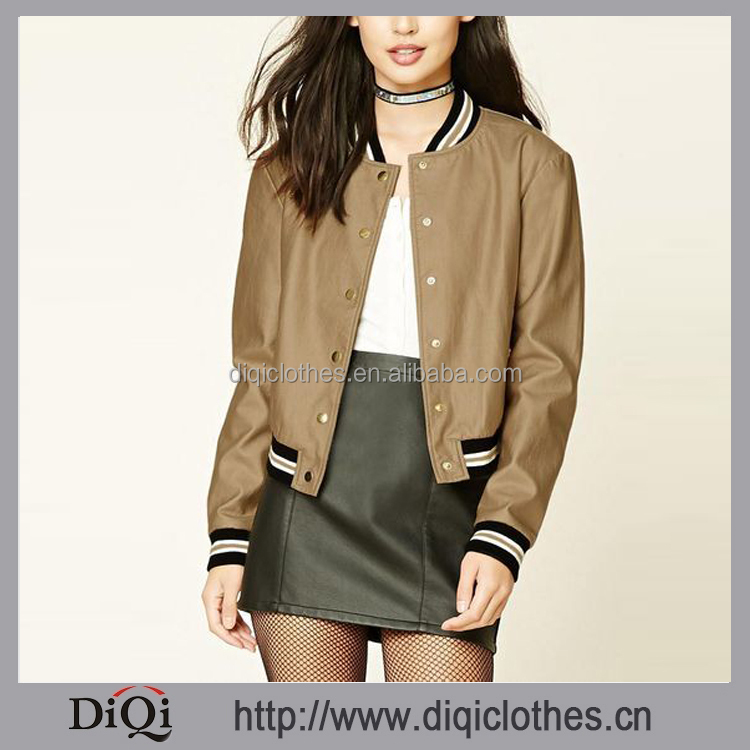 Chic Trade Assurance Alibaba Button Front Metallic Faux Leather Bomber Jacket