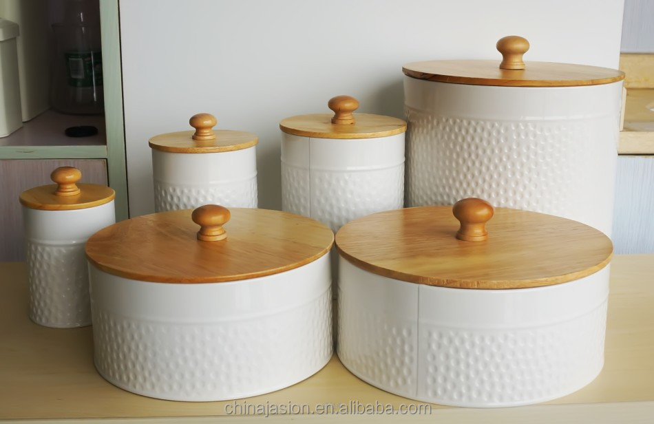 Food grade kitchen food storage ceramic canister with wooden lid