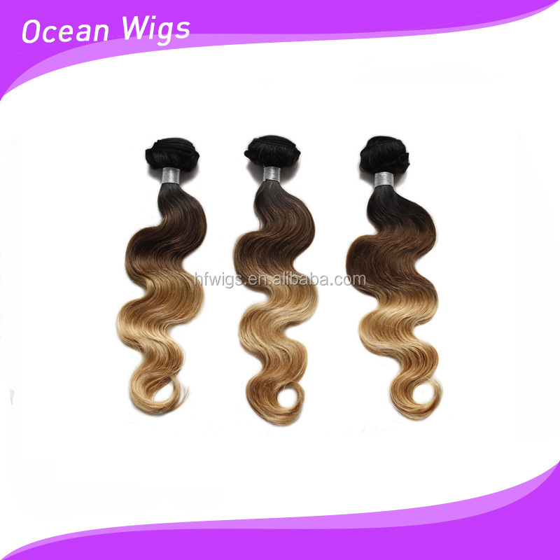 Best selling #1B/4/27 grade 7A 100% brazilian human hair three tone body wave ombre hair weaves
